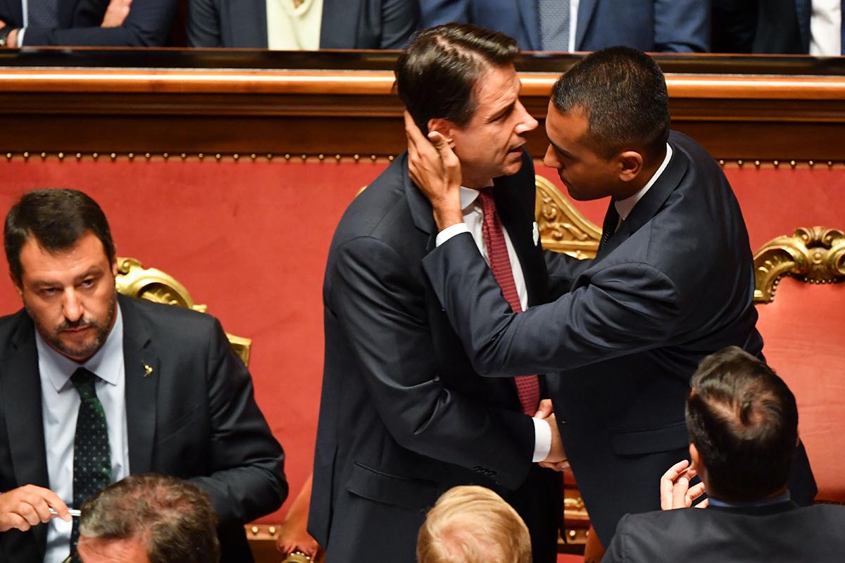 Matteo Salvini Giuseppe Conte e Luigi Di Maio lo scorso 20 agosto